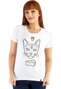 Baby Look Ouroboros Manga Curta Cat Demon - Feminino-Branco