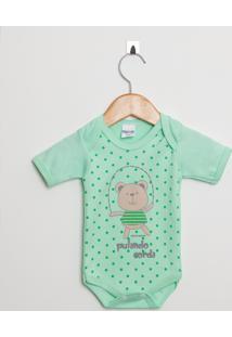 Body Bebê Manga Curta Menino Suedine Verde Ursinho - Tricae