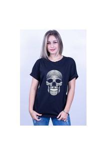Camiseta Bilhan Corte A Fio Caveira Preta