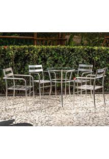 Conjunto De Mesa Com 4 Cadeiras Adelia - Alegro - Alumínio