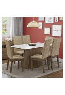 Conjunto Sala De Jantar Thaís Madesa Mesa Tampo De Madeira Com 6 Cadeiras Rustic/Branco/Imperial