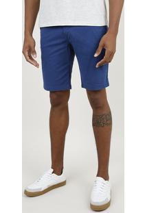 Bermuda De Sarja Masculina Slim Com Bolsos Azul Royal