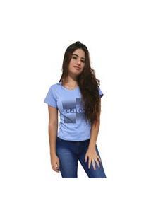 Camiseta Feminina Gola V Cellos Degradê Premium Azul Claro