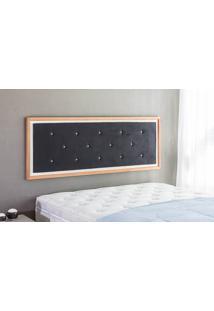Painel Cabeceira Para Cama Queen Size Casal Box Tecido Suede Preto E Madeira Cor Jatobá - 170X62,7X3 Cm