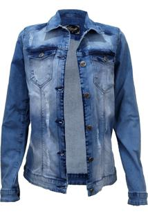 Jaqueta Retook Jeans Rasgada Azul