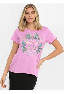 Camiseta Colcci Paraisos Tropicais Feminina - Feminino-Lilás