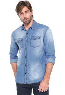 Camisa Jeans John John Reta Love Battle Azul