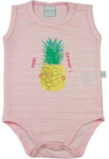 Body Infantil Ano Zero Malha Trabalhada Binny Abacaxi Hello Summer Feminina - Feminino-Rosa
