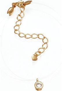 Gargantilha Prata Mil Silicone Com Redondo De Zircônia Dourado - Kanui
