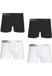 05f4fc07ec2e93 Kit Cueca Lupo Boxer Microfibra Sem Costura 4 Peças Masculina -  Masculino-Branco+Preto