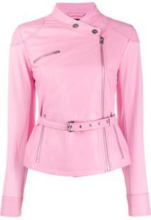 Pinko Jaqueta Slim Com Cinto - Rosa
