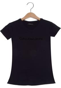 Camiseta Calvin Klein Jeans Logo Relevo Infantil Preta