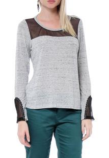Blusa Energia Fashion Mescla Com Tule Camuflado