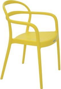 Cadeira Com Encosto Vazado Amarela Sissi
