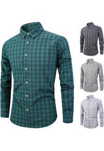 Camisa Masculina Listras Em Xadrez Manga Longa - Verde P