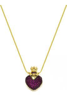 Gargantilha Prata Mil Perfumeiro Coraã§Ã£O Folhedo Em Ouro Dourado - Dourado - Feminino - Dafiti