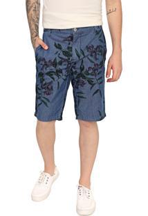 Bermuda Jeans Forum Chino Folhagem Azul