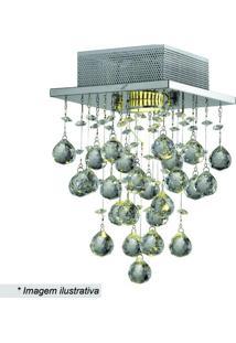 Plafon Tyrell Quadrado- Cristal & Prateado- 30X18X18Hevvy