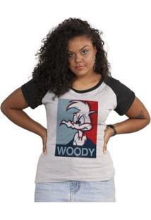 Camiseta Bandup! Raglan Pica-Pau Woody - Feminino-Cinza+Preto