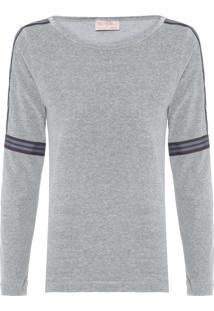 Camiseta Feminina Faixa Plus - Cinza