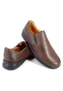 Sapato Conforto Masculino Com Elástico Couro Me500 Marrom