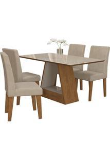 Sala De Jantar Alana 130Cm Com 4 Cadeiras Savana/Off White Sued Bege