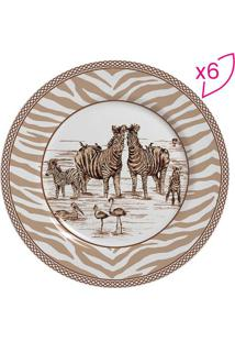 Conjunto De Pratos Para Sobremesa Zebra- Bege & Branco