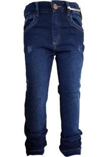 Calça Jeans Tradicional Menino Com Bolsos Desfiado Conforto - Masculino-Azul Escuro