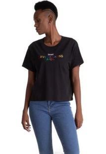 Camiseta Levis Graphic Varsity Feminina - Feminino-Preto