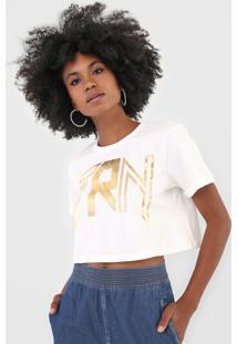 Camiseta Cropped Triton Lettering Metalizada Off-White - Kanui