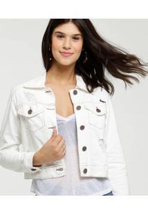 Jaqueta Feminina Cropped Sarja Destroyed Uber Jeans