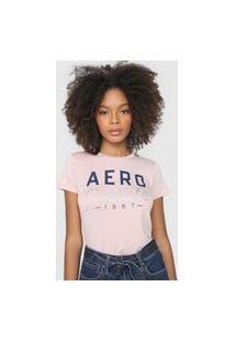 Camiseta Aeropostale Logo Rosa