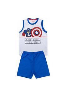 Pijama Infantil Capitão América Branco 52050030 - Evanilda