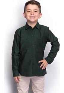 Camisa Social Juvenil Menino Manga Longa Estampada Casual