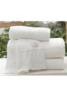 Jogo De Toalhas (Banho E Rosto) Gigante Coleção Tréccia Branco Algodão Com 5 Peças - Ruth Sanches
