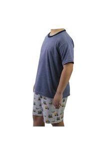 Pijama Infantil Camiseta E Bermuda Neway Masculino Azul E Bege