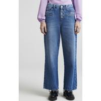 2eb8520a1 Calça Jeans Feminina Pantalona Mindset Cintura Baixa Com Botões Azul Médio