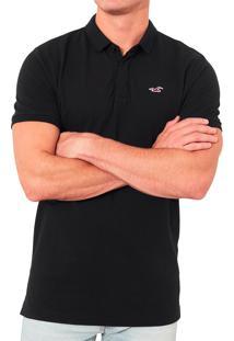 Polo Hollister Masculina Epic Flex Stretch Small Icon Preta
