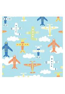 Papel De Parede Quartinhos Adesivo Infantil Aviões 2,70X0,57M