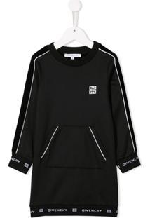 Givenchy Kids Vestido De Jersey Com Logo - Preto