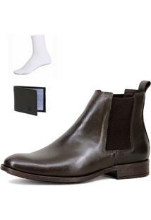Bota Chelsea Boots Botina Confortável Escrete Couro 771C Café Com Brinde - Kanui