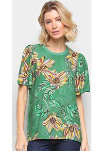 Camiseta Colcci Estampada Feminina - Feminino-Verde Claro