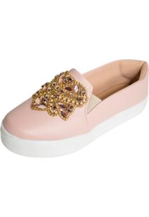 Tenis Hope Shoes Slipper Com Detalhe Em Pedraria Rosa - Tricae