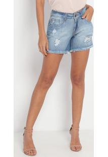 Short Jeans Com Destroyed- Azul Claro- My Favorite Tmy Favorite Things