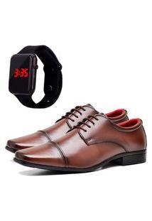 Sapato Social Elegant Com Relógio Led Dubuy 807La Marrom