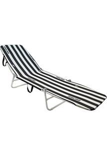 Cadeira Espreguiçadeira Dobrável Mormaii Branco/Preto - Kanui