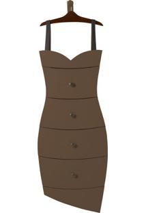 Cômoda Suspensa 4 Gavetas Dress 1081 Cacau/Marrom Escuro - Maxima