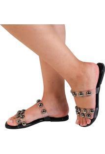 Rasteira Mercedita Shoes Cristal Preta - Preto - Feminino - Dafiti