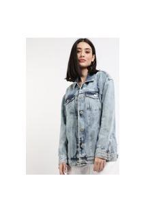 Jaqueta Jeans Feminina Longa Com Bolsos Azul Claro