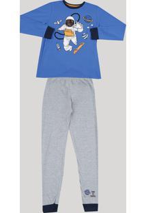 Pijama Infantil Astronauta Camiseta Manga Longa Cinza Mescla